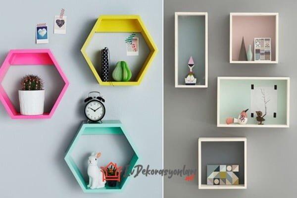rengarenk dekoratif kutu duvar rafi modelleri 2019