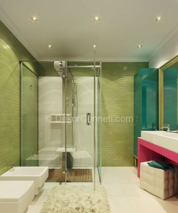 renkli banyo dekorasyonu