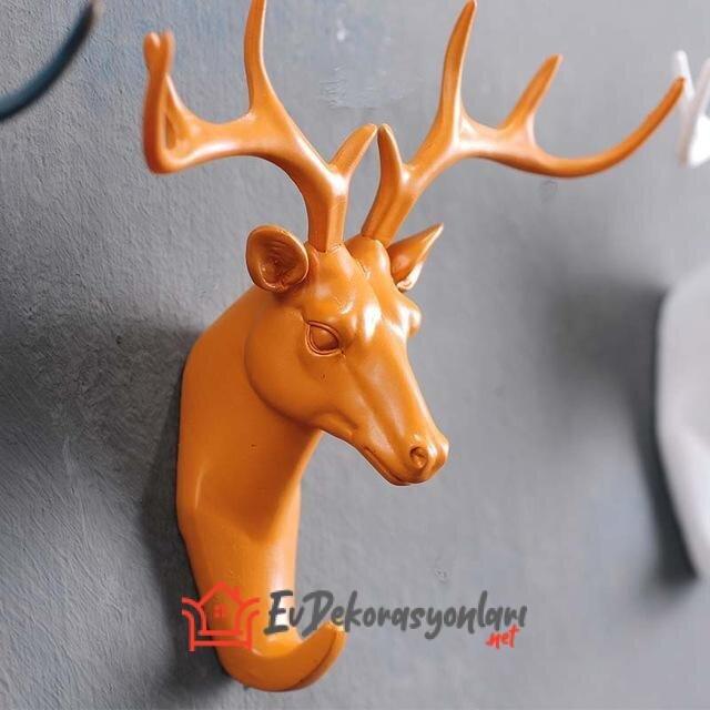 renkli dekoratif geyik basi duvar askisi modeli