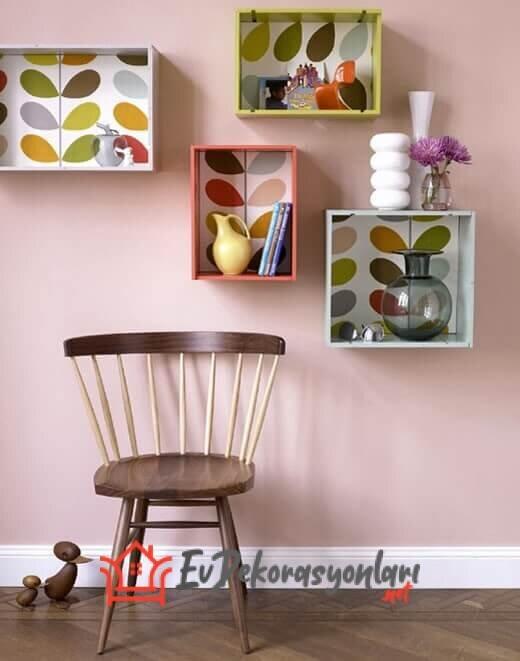 renkli dekoratif kutu duvar rafi modelleri
