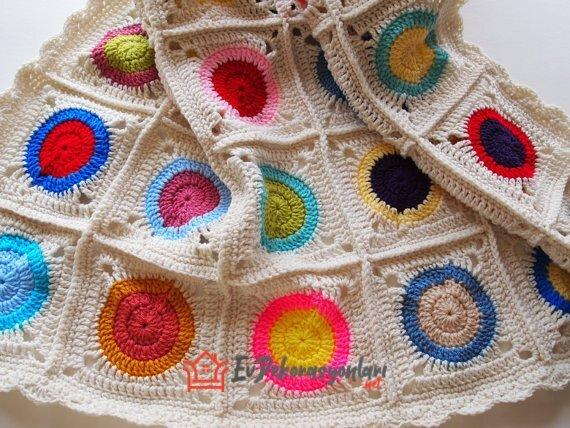 renkli motif orgu bebek battaniyesi modeli