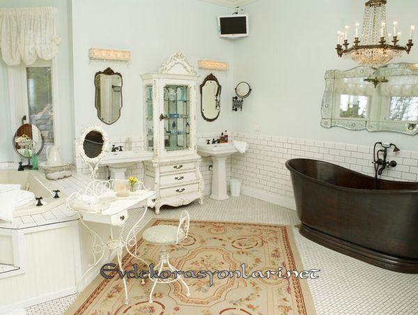 romantik shabby chic banyo dekorasyon modeli 2019