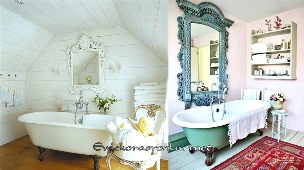romantik shabby chic banyo dekorasyonlari 2019