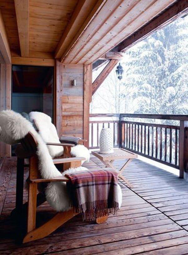 rustik tarz kis balkonu dekorasyonu