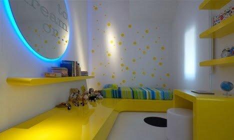 sarı çocuk odası dekorasyonu