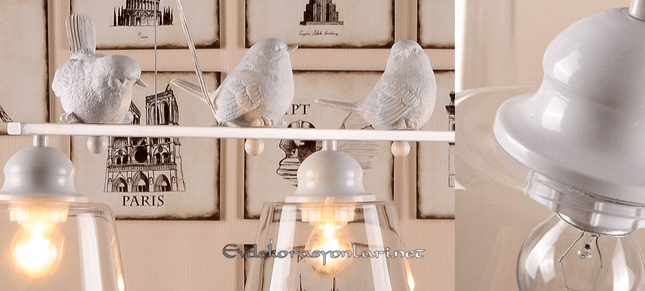 seramik kuslu dekoratif aydinlatma modeli