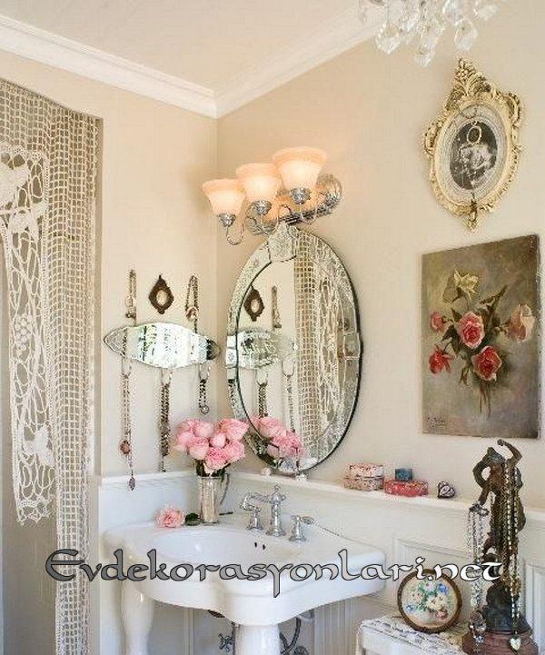 shabby chic banyo dekorasyon ornegi