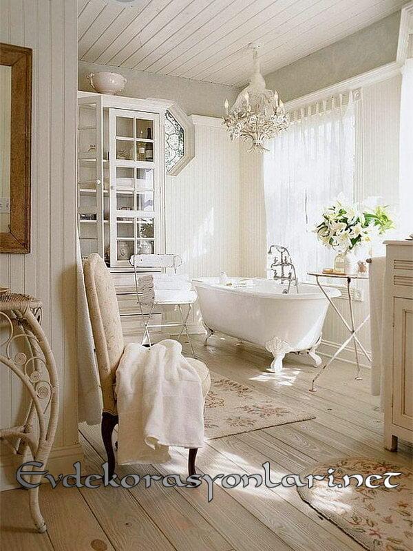 shabby chic romantik banyo dekorasyon fikirleri 2019