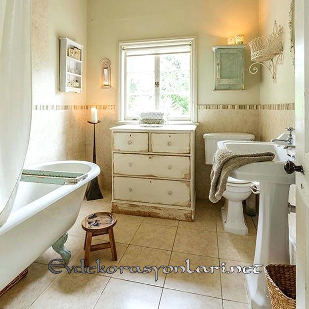 shabby chic tarzi banyo dekorasyonlari 2019