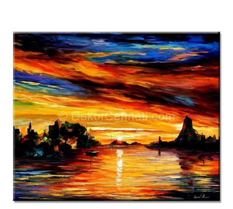 Sicily Sacania Manzaralı Canvas Tablo