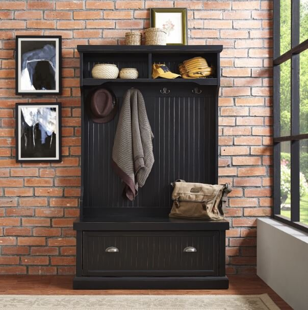 siyah renkli dekoratif vestiyer modeli