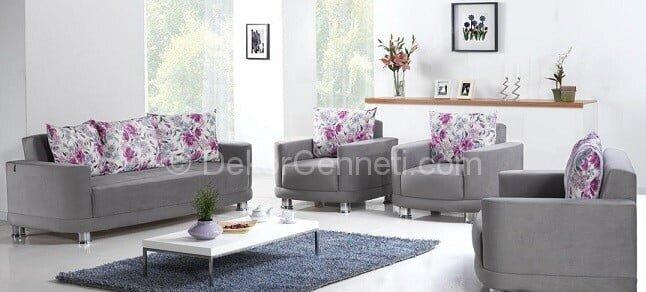 Şık gri koltuk ile uyumlu halı Fotoğrafları