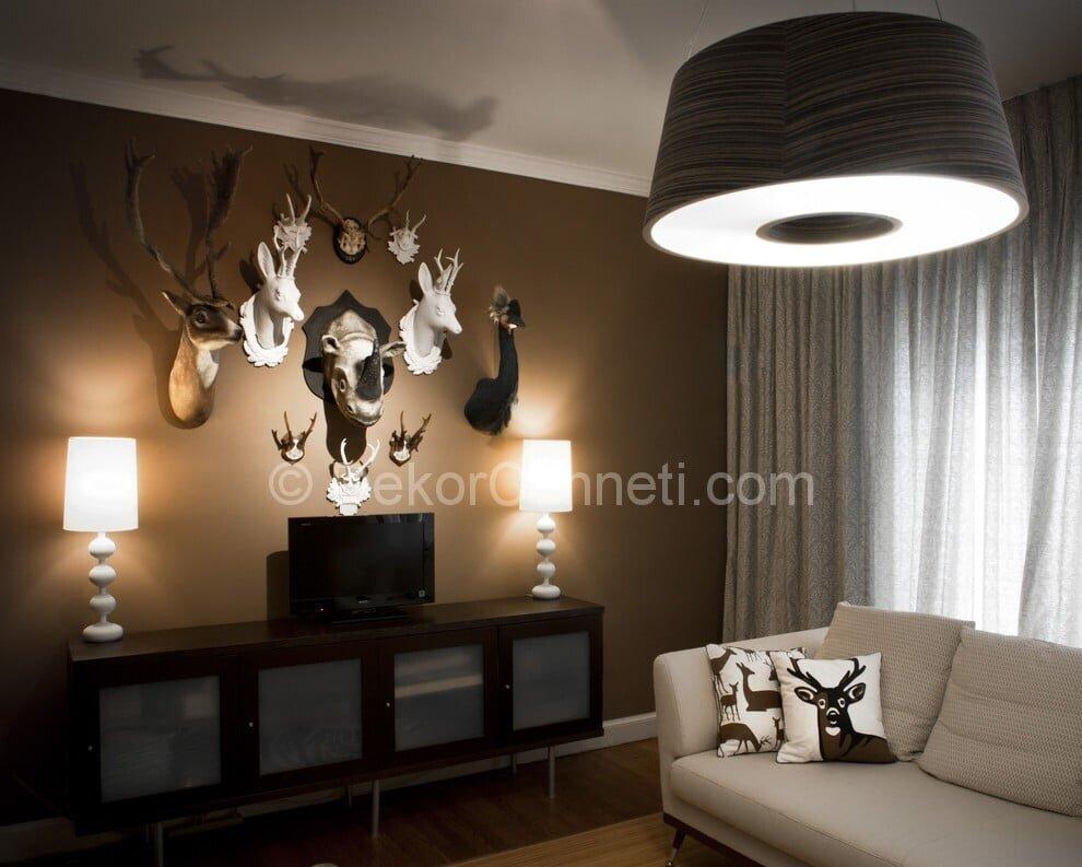 Şık oturma odası dekorasyonu Görselleri