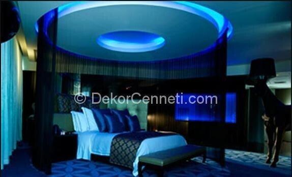 Şık yatak odası asma tavan Fotoğrafları