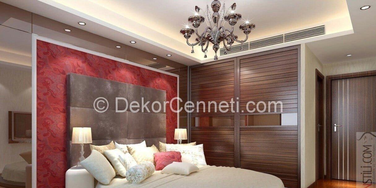 Şık yatak odası için asma tavan modelleri Görselleri