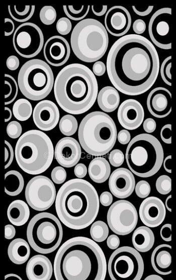 siya gümüş daire desenli halı modeli