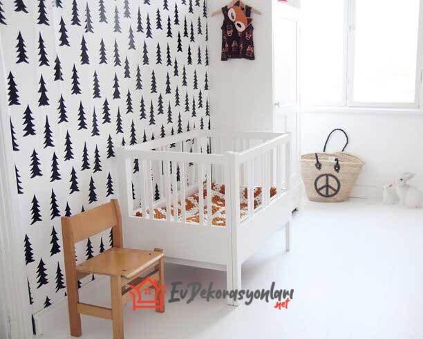 siyah beyaz cam agaci desenli bebek odasi duvar kagidi modeli