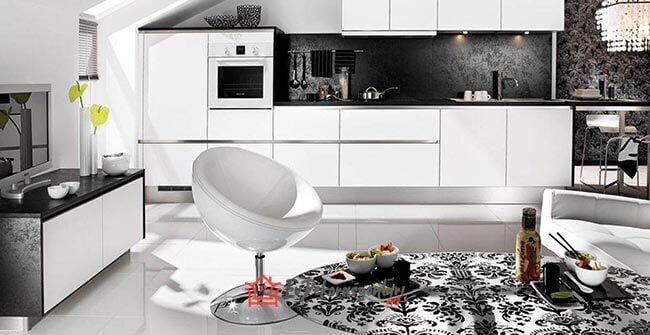 siyah beyaz modern acik mutfak dekorasyon modeli