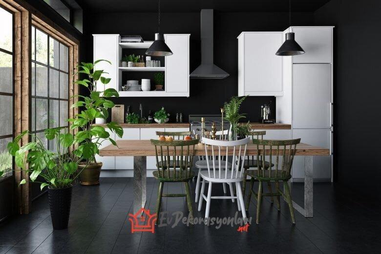2020 Siyah-Beyaz Mutfak Dekorasyonu