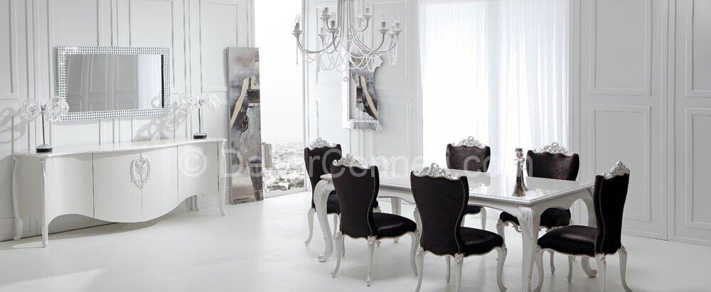 siyah beyaz yemek odaları