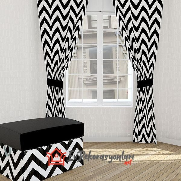 siyah beyaz zigzag desenli missia home oturma odasi perde modeli