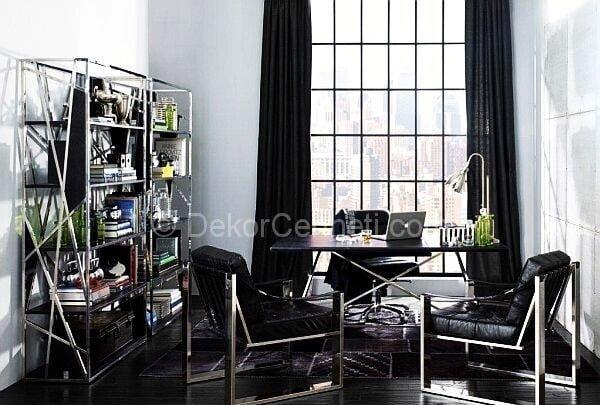 siyah home ofis dekorasyonu
