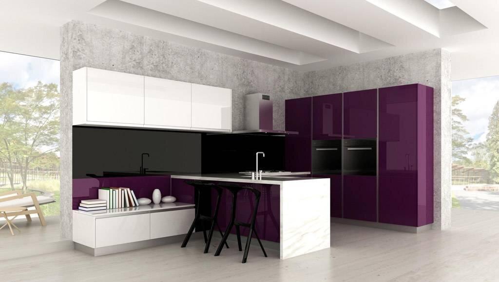 siyah ve mor mutfaklar