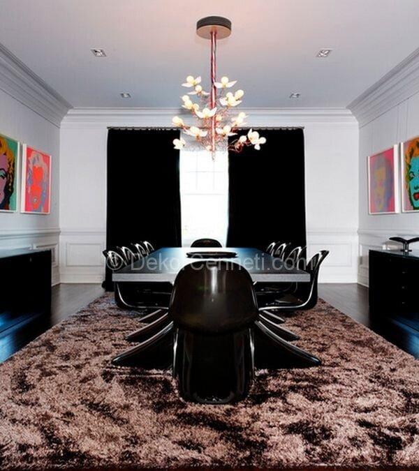 siyah yemek odası dekorasyonu