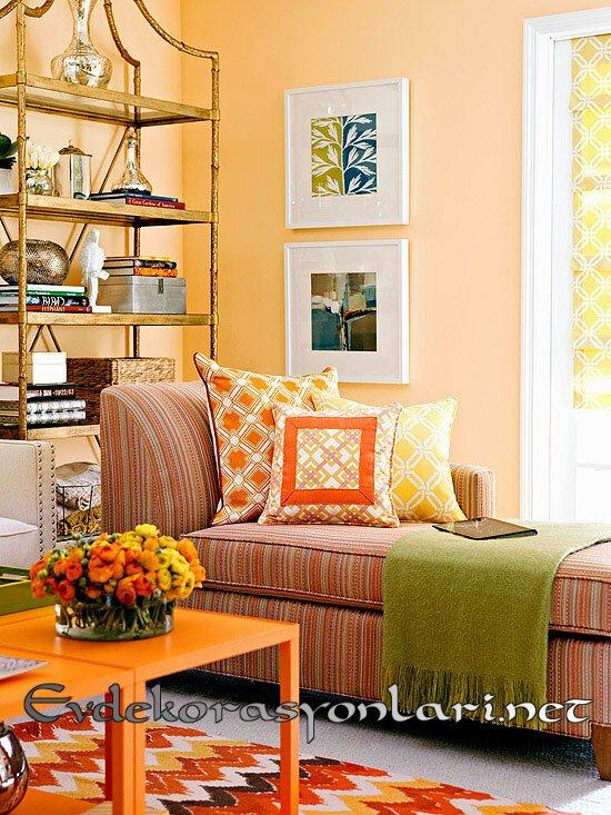 sonbahar renkli ev dekorasyonlari