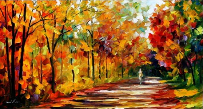 sonbahar temali dekoratif yagli boya tablo modeli
