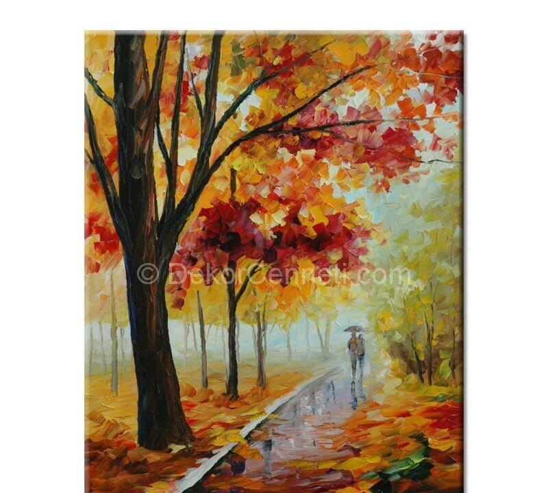 Sonbaharda Aşk Yağlıboya Canvas Tablo