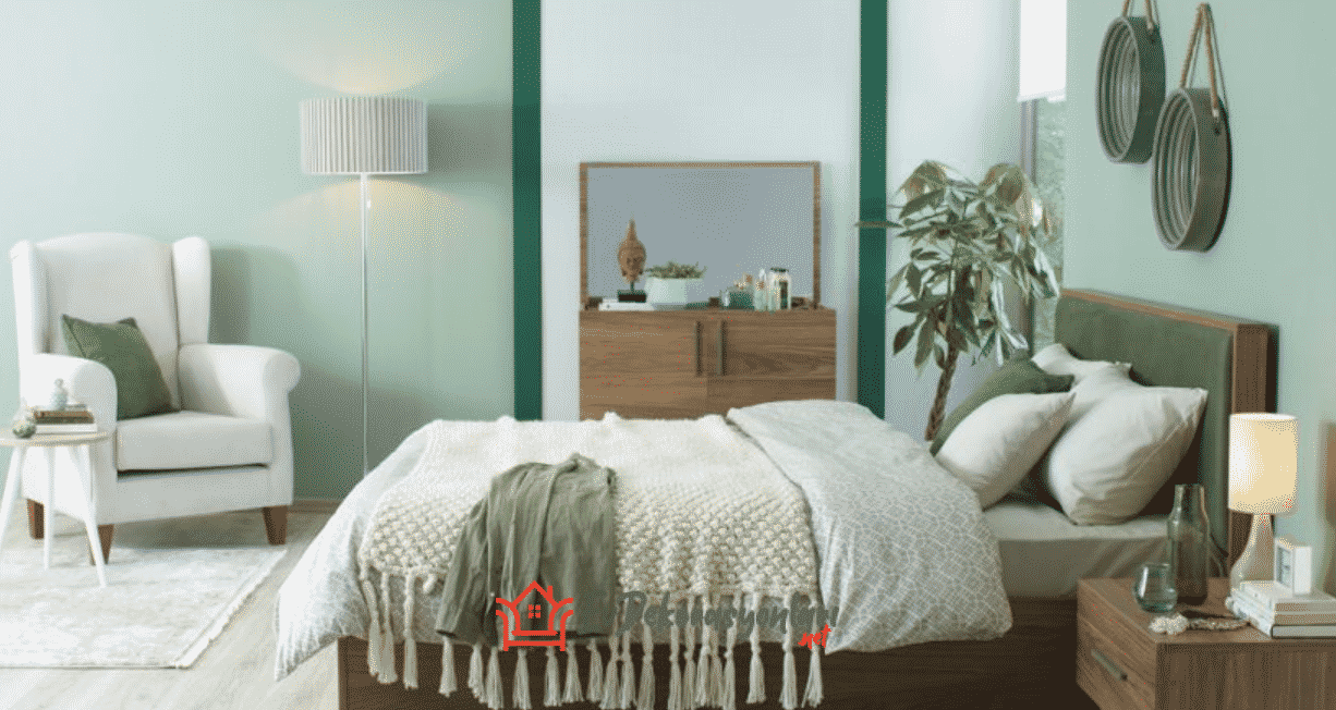 Su Yeşili Yatak Odası Dekorasyonu