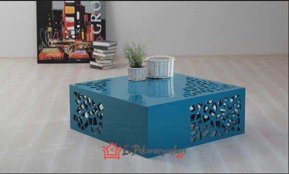 tarz mobilya modern tarz mavi orta sehpa modeli