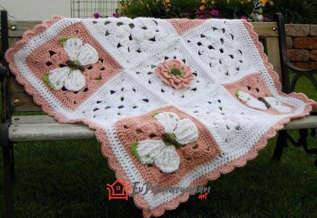 tig isi el orgusu kelebek motifli bebek battaniyesi modeli