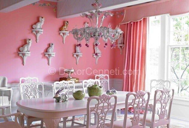 toz pembe yemek odası dekorasyonu