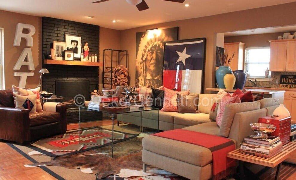Trend gri salon dekorasyon Fotoğrafları