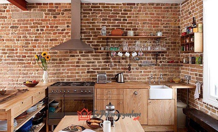 tugla kaplamali mutfak duvar dekorasyonu
