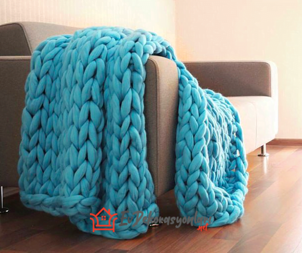 turkuaz rengi dev orgu battaniye modeli