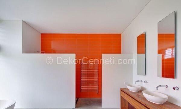 turuncu beyaz banyo dekorasyonu