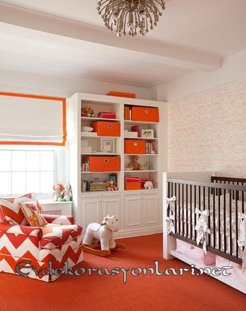 turuncu beyaz bebek odasi dekorasyonu