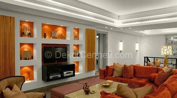 turuncu oturma odası dekorasyonu
