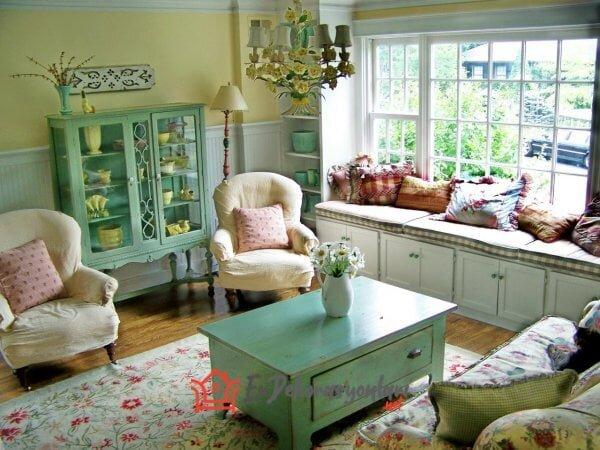 vintage oturma odasi dekorasyonu