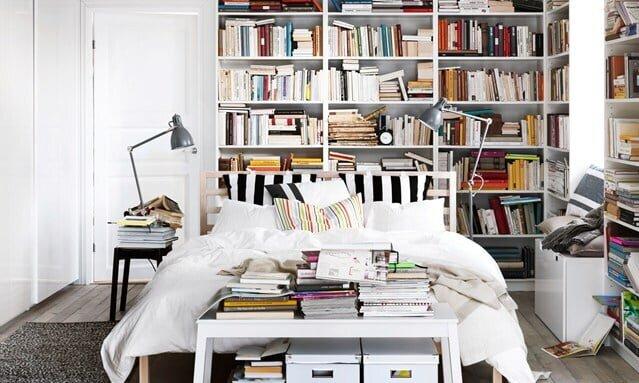 yatak odasında kitaplık fikirleri