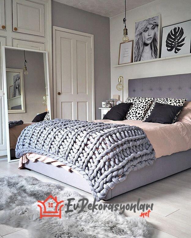 yatak odasi kis temali dekorasyon ornegi