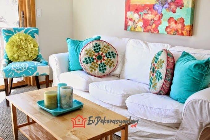 yazlik ev oturma odasi dekorasyon modeli 2019