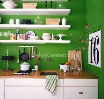 yeşil beyaz mutfaklar