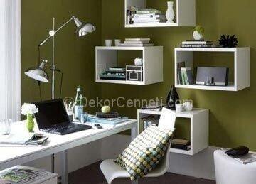 yeşil home ofis dekorasyonu