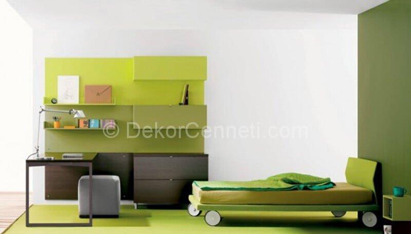 Yeşil Mobilyalı Çocuk ve Genç Odası Dekorasyonu