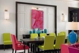 yeşil pembe yemek odası dekorasyonu