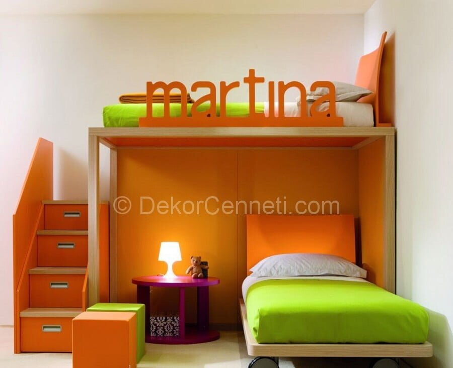 Childrens enjoyed this stylish italian kids bedroom furniture Used Modern Kids Furniture with Orange and Green  Color Decoration Ideas for Inspiration